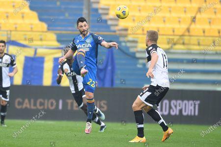 "Tolgay Arslan (Udinese)Andreas Evald Cornelius (Parma)           during the Italian ""Serie A match between Parma 2-2 Udinese at  Ennio Tardini Stadium in Parma, Italy."