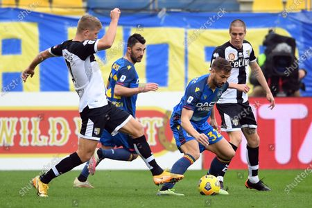 "Andreas Evald Cornelius (Parma)Tolgay Arslan (Udinese)Fernando Llorente (Udinese)Andrea Conti (Parma)           during the Italian ""Serie A match between Parma 2-2 Udinese at  Ennio Tardini Stadium in Parma, Italy."