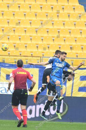 "Fernando Llorente (Udinese)Mattia Bani (Parma)Riccardo Gagliolo (Parma)           during the Italian ""Serie A match between Parma 2-2 Udinese at  Ennio Tardini Stadium in Parma, Italy."