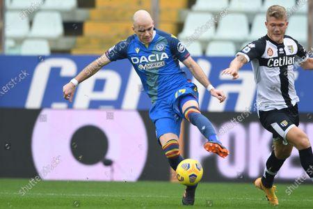 "Stock Picture of Andreas Evald Cornelius (Parma)Bram Nuytinck  (Udinese)             during the Italian ""Serie A match between Parma 2-2 Udinese at  Ennio Tardini Stadium in Parma, Italy."