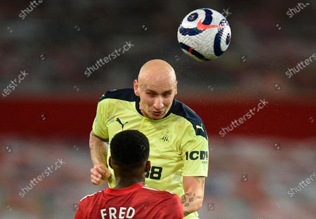 Stock Picture of Newcastle's Jonjo Shelvey (R) in action against Manchester United's Fred (L) during the English Premier League soccer match between Manchester United and Newcastle United in Manchester, Britain, 21 February 2021.