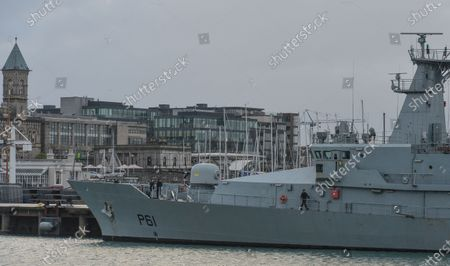 LÉ Samuel Beckett (P61), an offshore patrol vessel of the Irish Naval Service seen from the East Pier in Dun Laoghaire during Level 5 Covid-19 lockdown.