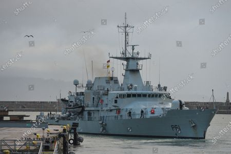 LÉ Samuel Beckett (P61), an offshore patrol vessel of the Irish Naval Service seen in Dun Laoghaire during Level 5 Covid-19 lockdown.