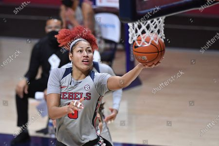 Mississippi forward Shakira Austin (0) shoots the ball during the second half of an NCAA college basketball game against Texas A&M in Oxford, Miss