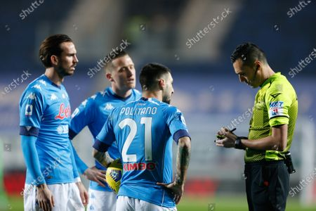 Stock Picture of Matteo Politano (SSC Napoli) and Fabian Ruiz (SSC Napoli) protest with the referee Marco Di Bello for showing a yellow card to Di Lorenzo (not in the picture)
