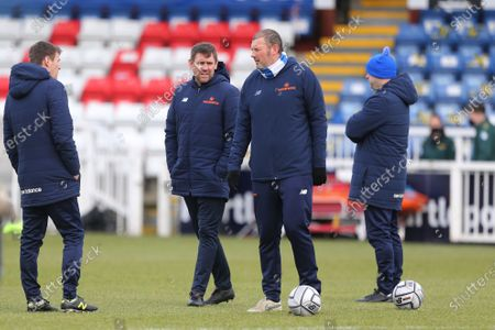 Hartlepool United's management team (L-R), Tony Sweeney (First team coach), Dave Challinor (Manager), Ross Turnbull (Goalkeeping coach) and Joe Parkinson (Assistant manager) during the Vanarama National League match between Hartlepool United and Yeovil Town at Victoria Park, Hartlepool
