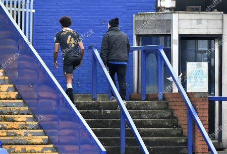 Stock Photo of Oldham Athletic's Sido Jombati leaves the field after being sent off during the Sky Bet League 2 match between Tranmere Rovers and Oldham Athletic at Prenton Park