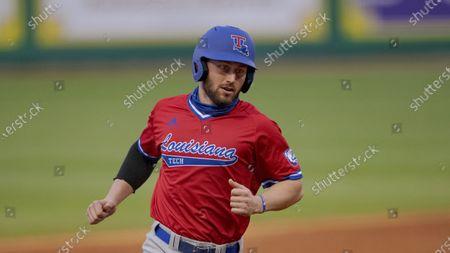 Louisiana Tech outfielder Parker Bates (2) runs during an NCAA baseball game against Air Force, in Baton Rouge, La