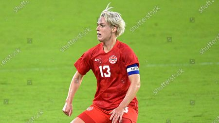 Canada midfielder Sophie Schmidt (13) follows a play during the first half of a SheBelieves Cup women's soccer match against Argentina, in Orlando, Fla
