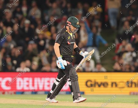 Aaron Finch of Australia during the 1st T20 cricket match between Australia and New Zealand at Hagley Park, Christchurch, New Zealand, 22 February 2021.