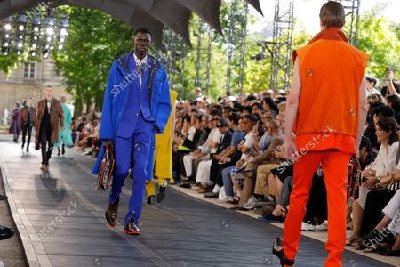 Model on the catwalk at the Berluti Fashion show in Paris, Spring Summer 2020, Menswear Fashion WeekCollection designed by Kris Van Assche