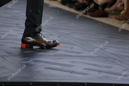 Model on the catwalk, Shoes detail, at the Berluti Fashion show in Paris, Spring Summer 2020, Menswear Fashion WeekCollection designed by Kris Van Assche