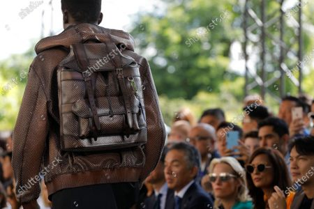 Model on the catwalk, bag detail, at the Berluti Fashion show in Paris, Spring Summer 2020, Menswear Fashion WeekCollection designed by Kris Van Assche
