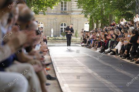 Kris Van Assche on the catwalk at the Berluti Fashion show in Paris, Spring Summer 2020, Menswear Fashion Week