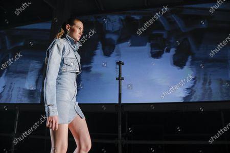 Model on the catwalk at the Heron Preston Fashion show in Paris, Spring Summer 2020, Menswear Fashion Week