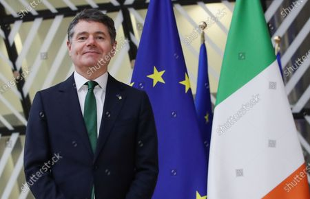 Irish Finance Minister and President of the Eurogroup Paschal Donohoe arrives at the EU council headquarters in Brussels, Belgium, 22 February 2021.