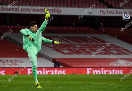 Claudio Bravo goalkeeper of Manchester City clears the ball