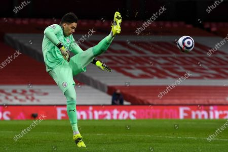Stock Picture of Claudio Bravo goalkeeper of Manchester City clears the ball