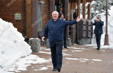 Belarus President Alexander Lukashenko walks during a meeting with Russian President Vladimir Putin (not pictured)  in the Black sea resort of Sochi, Russia, 22 February 2021.