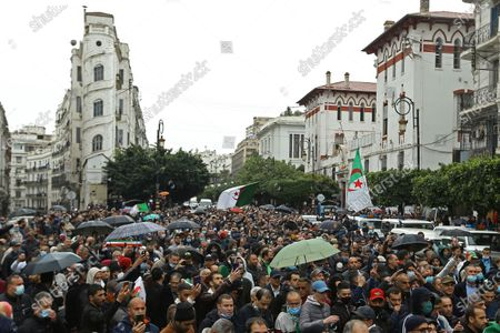 Algerians take the streets as they demonstrate in Algiers to mark the second anniversary of the Hirak movement, . February 22 marks the second anniversary of Hirak, the popular movement that led to the fall of Algerian President Abdelaziz Bouteflika