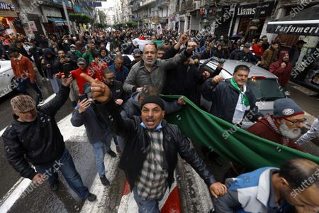Stock Image of Algerians demonstrate in Algiers to mark the second anniversary of the Hirak movement, . February 22 marks the second anniversary of Hirak, the popular movement that led to the fall of Algerian President Abdelaziz Bouteflika