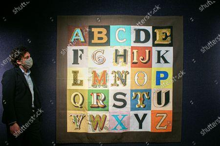Stock Photo of SIR PETER BLAKE R.A. Alphabet, 2008 artwork, £ 8,000 - 12,000 to be offered at Bonhams British cool sale