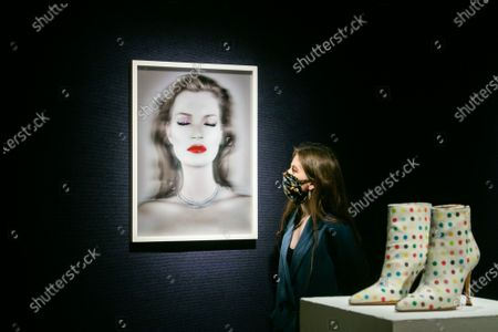 CHRIS LEVINE  (Canadian/British, born 1972), Kate Moss She's Light (Pure), 2014.  Estimate: £20,000 - 30,000, Damien Hirst X Manolo Blahnik Spin/ Spot Boots. Estimate: £2,000 - 3,000 each to be offered at Bonhams British cool sale