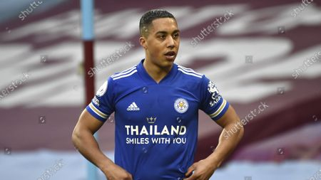 Leicester's Youri Tielemans during the English Premier League soccer match between Aston Villa and Leicester City at Villa Park in Birmingham, England
