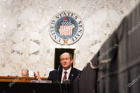 Senator Chris Coons (D-DE) during Attorney General nominee Merrick Garland's confirmation hearing before the Senate Judiciary Committee on Capitol Hill in Washington, DC, USA, 22 Ferbuary 2021.