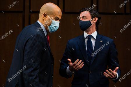 Senator Cory Booker (D-NJ) and  Senator Jon Ossoff (D-GA) during Attorney General nominee Merrick Garland's confirmation hearing before the Senate Judiciary Committee on Capitol Hill in Washington, DC, USA, 22 Ferbuary 2021.