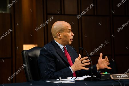 Senator Cory Booker (D-NJ) during Attorney General nominee Merrick Garland's confirmation hearing before the Senate Judiciary Committee on Capitol Hill in Washington, DC, USA, 22 Ferbuary 2021.