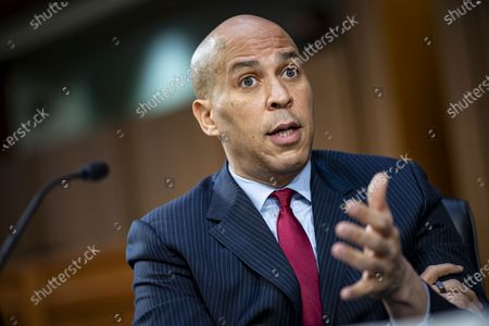 Sen. Cory Booker (D-NJ) speaks during Attorney General nominee Merrick Garland's confirmation hearing before the Senate Judiciary Committee in the Hart Senate Office Building in Washington, DC, USA, 22 February 2021. Garland previously served as the Chief Judge for the US Court of Appeals for the District of Columbia Circuit.