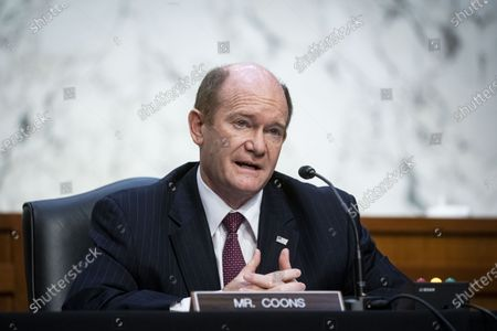 Sen. Chris Coons (D-DE) speaks during Attorney General nominee Merrick Garland's confirmation hearing before the Senate Judiciary Committee in the Hart Senate Office Building, in Washington, DC., USA, 22 February 2021. Garland previously served as the Chief Judge for the US Court of Appeals for the District of Columbia Circuit.