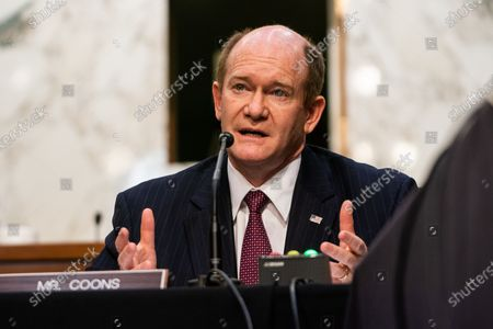 Stock Picture of United States Senator Chris Coons (Democrat of Delaware) asks questions during Attorney General nominee Merrick Garland's confirmation hearing before the Senate Judiciary Committee on Capitol Hill in Washington, DC..