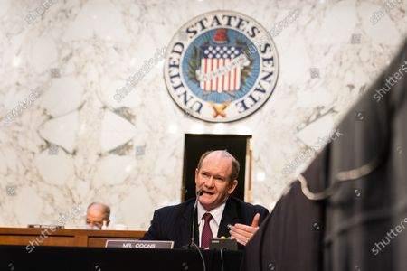 Stock Photo of United States Senator Chris Coons (Democrat of Delaware) asks questions during Attorney General nominee Merrick Garland's confirmation hearing before the Senate Judiciary Committee on Capitol Hill in Washington, DC..