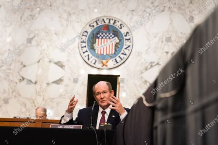 United States Senator Chris Coons (Democrat of Delaware) asks questions during Attorney General nominee Merrick Garland's confirmation hearing before the Senate Judiciary Committee on Capitol Hill in Washington, DC..