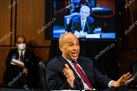 United States Senator Cory Booker (Democrat of New Jersey) during Attorney General nominee Merrick Garland's confirmation hearing before the Senate Judiciary Committee on Capitol Hill in Washington, DC..