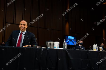 Stock Picture of United States Senator Cory Booker (Democrat of New Jersey) during Attorney General nominee Merrick Garland's confirmation hearing before the Senate Judiciary Committee on Capitol Hill in Washington, DC..