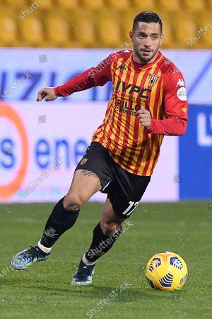 Gianluca Caprari of Benevento Calcio in action during the Serie A match between Benevento Calcio and AS Roma at Stadio Ciro Vigorito