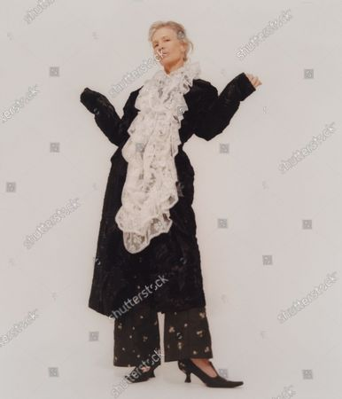 Stock Photo of A Model wearing an outfit from the Womens Ready to wear, pret a porter, collections, winter 2021 2022, original creation, during the Womenswear Fashion Week in London, from the house of Yuhan Wang
