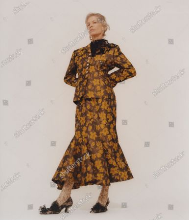 A Model wearing an outfit from the Womens Ready to wear, pret a porter, collections, winter 2021 2022, original creation, during the Womenswear Fashion Week in London, from the house of Yuhan Wang