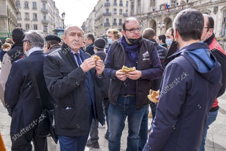 Stock Picture of Former Mayor Gerard Collomb came to support angry farmers.
