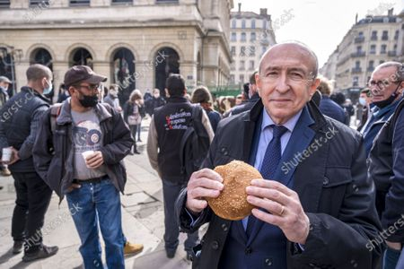 Stock Image of Former Mayor Gerard Collomb came to support angry farmers.
