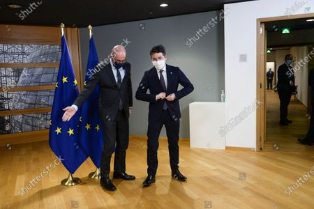 Stock Picture of European Council President Charles Michel (L) meets with Eurogroup President Paschal Donohoe (R) in Brussels, Belgium, 22 February 2021.
