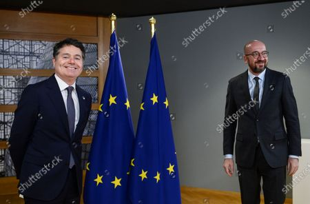 European Council President Charles Michel (R) meets with Eurogroup President Paschal Donohoe (L) in Brussels, Belgium, 22 February 2021.
