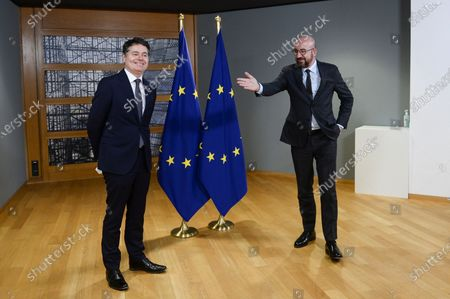 Stock Image of European Council President Charles Michel (R) meets with Eurogroup President Paschal Donohoe (L), in Brussels, Belgium, 22 February 2021.