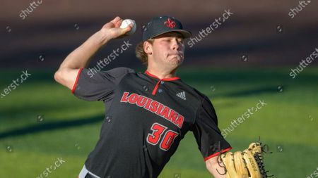 Stock Photo of Louisiana Lafayette right handed pitcher David Christie (30) throws during an NCAA baseball game against Tulane, in New Orleans