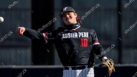 Austin Peay first baseman John McDonald (10) throws during an NCAA baseball game against Dallas Baptist, in Dallas. Dallas Baptist won 13-2
