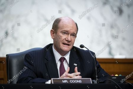 Stock Image of Sen. Chris Coons (D-DE) speaks during Attorney General nominee Merrick Garland's confirmation hearing before the Senate Judiciary Committee in the Hart Senate Office Building