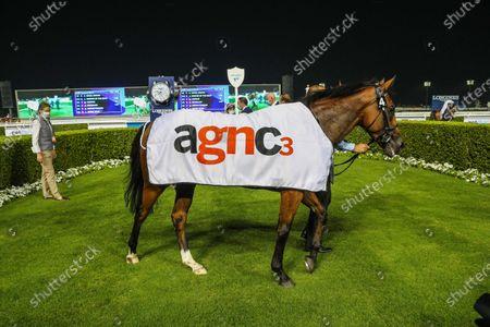 NAVAL CROWN (GB) ridden by Mickael Barzalona wins the 8F Listed Meydan Classic Sponsored By agnc3, race 3, at Meydan Dubai World Cup Carnival.